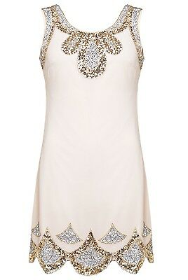 BNWT GATSBY Beige Dress Tunic Top Evening 1920's Shift Dress Size 8 10 12 14 16
