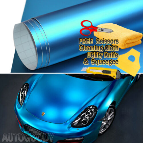 40ft x 5ft Satin Matte Chrome Metallic Light Blue Vinyl Film Wrap Bubble Free