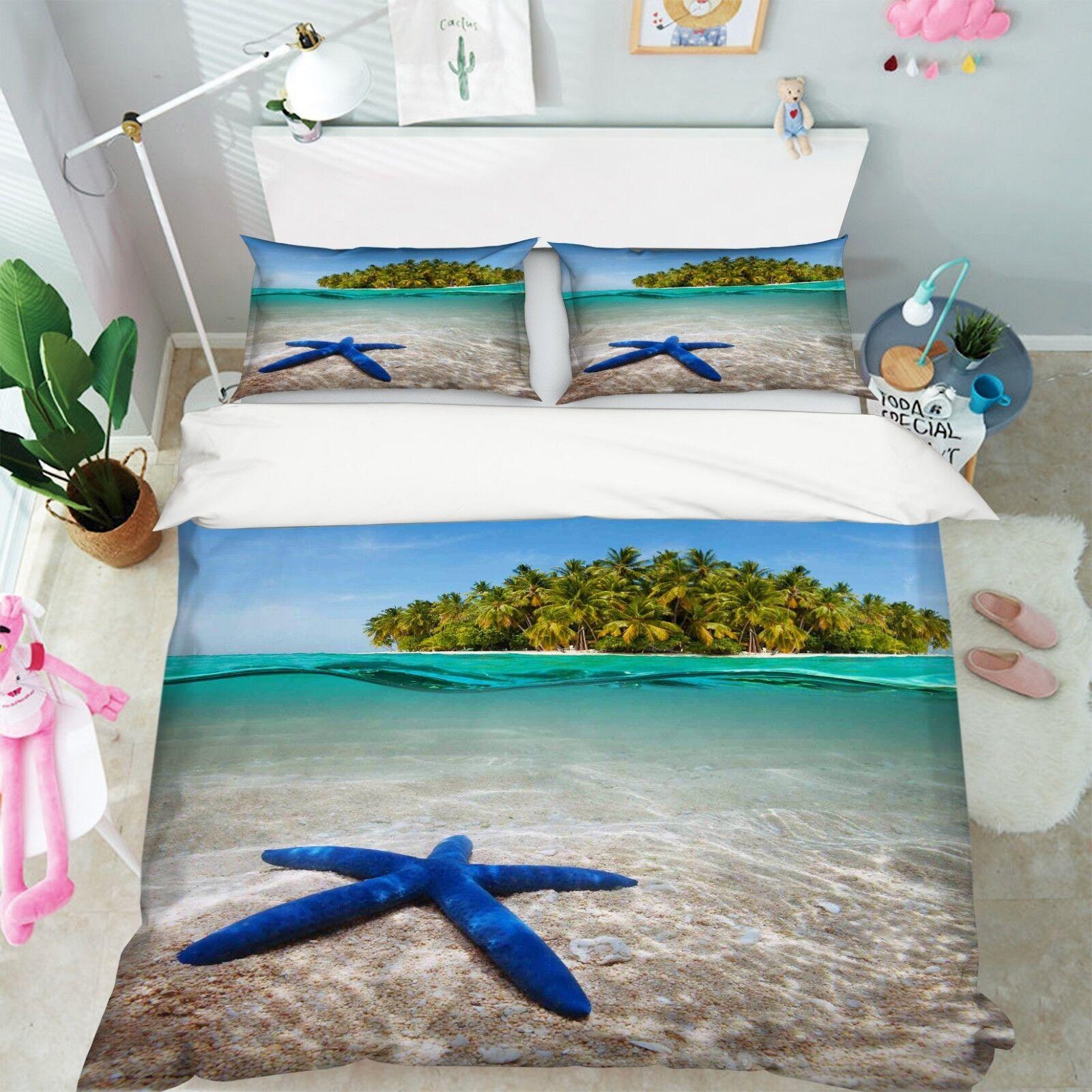 3D Seestern Wasser Insel 5 Bett Kissenbezüge steppen Duvet Decken Set Single DE
