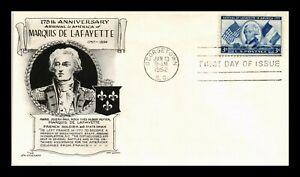 DR-JIM-STAMPS-US-ARRIVAL-OF-LAFAYETTE-FDC-COVER-SCOTT-1010-ARISTOCRATS
