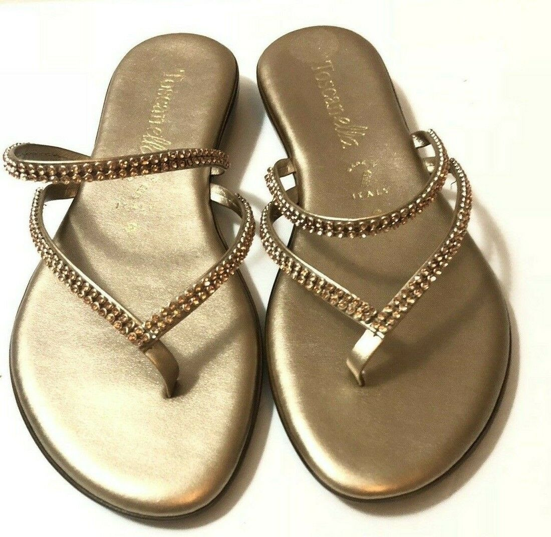 ITALIAN SHOEMAKERS TOSCANELLA Made In  Sandals Slip-on RHINESTONE 8