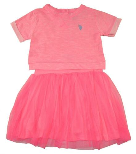 US Polo Assn Toddler Girls Neon Pink Tulle Detail Dress Size 2T 3T 4T $38