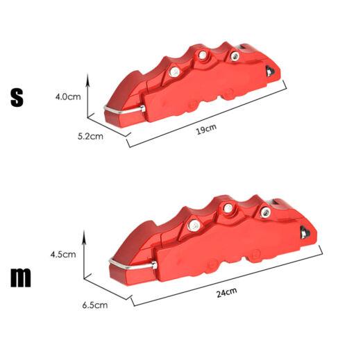 3D Rojo Estilo Pinza de freno de disco universal de coche cubre Decoración delanteras y traseras