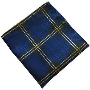 (f05)blue Tartan Silk Men Formal Pocket Square Hankie Wedding Party Handkerchief GroßEr Ausverkauf