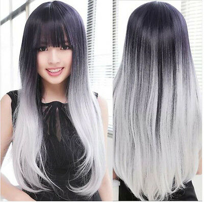 Black+Gray Hair Women Long Straight Wavy Fashion Cosplay Anime Lolita Full Wigs