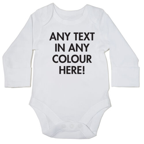 LONG SLEEVE personalised gift bodysuit 915 ANY TEXT AND COLOUR baby grow vest