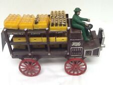CAST IRON PEPSI COLA TRUCK WAGON W/ CRATE  DRIVER VINTAGE Charlotte Collectible