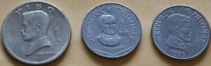 Philippines-3-1-Piso-Coins-1972-KM203-1977-KM209-and-1985-KM243-Circulated