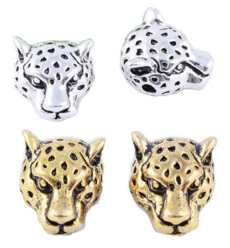 50pcs Argent /& Or Laiton Leopard Head Charm Spacer Beads Jewelry Findings 10 mm