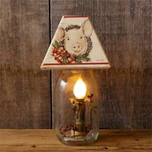 Details About New Farmhouse Primitive Country Pig Wreath Canning Jar Light Plug In Lamp