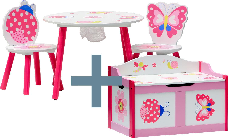 Ensemble en bois pour enfants  Papillon  table chaises poitrine Bench Kids mobilier maternelles