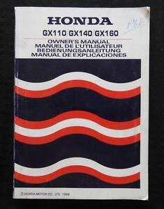GENUINE-1988-HONDA-GX110-GX140-GX160-ENGINE-OPERATORS-OWNER-039-S-MANUAL-160-PAGES