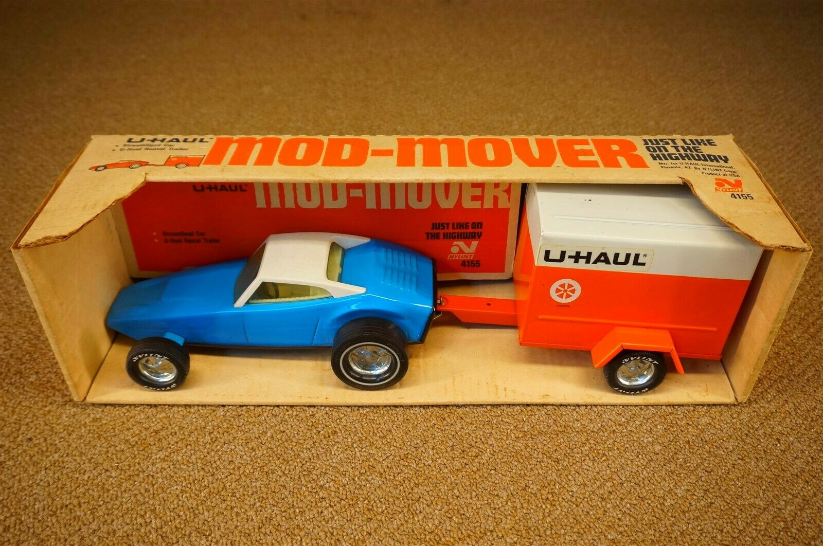 NOS Vintage Nylint U Haul Mod Mover & Trailer Rental Stamp Steel 19.5  4155