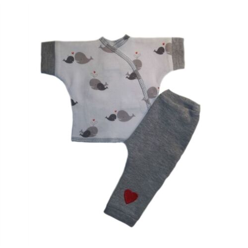 4 Preemie and Newborn Sizes Whale of a Time Baby 2 Piece Pants Shirt Outfit