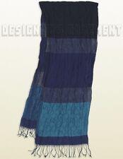 GUCCI navy & teal LINEN Blend LUREX glitter Monogram SCARF shawl scarf NWT Auth