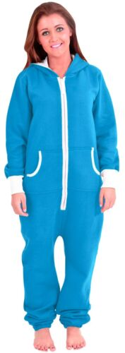 Adult Women  Non Footed Pajamas Jumpsuit Zipper Hoodie Playsuit Tracksuit