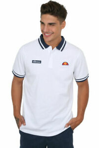 Ellesse-Polo-Shirt-Mens-Tipped-Short-Sleeve-Jersey-Cotton-White-New