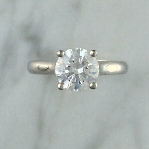 2.00 Ct Solitaire Moissanite Engagement Ring 18K Solid White Gold ring Size 9
