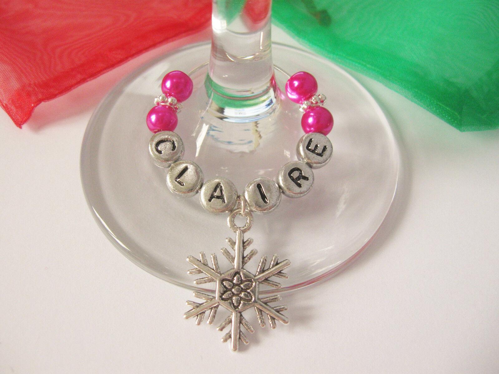 Personnalisé Noël Thème Nom Verre à vin-Décoration de Table-Free Table-Free de p&p 0ddba7