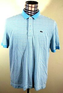 b6610a6b LACOSTE Mens WHITE BLUE STRIPED GOLF JERSEY SHORT SLEEVE Shirt Large ...