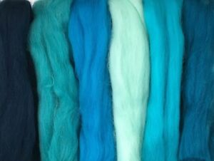 Details about MERINO WOOL OCEANIC BLUE SHADES dyed wool tops / roving /  needle felting 60g