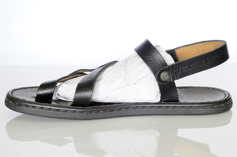 Emporio Armani Men's Black Leather Sandals Sz 10 - image 3