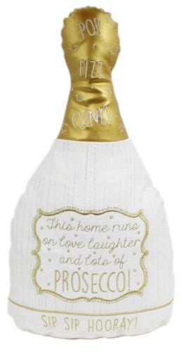 Crème et Or Décoratif Prosecco fizz bouteille Coussin Oreiller