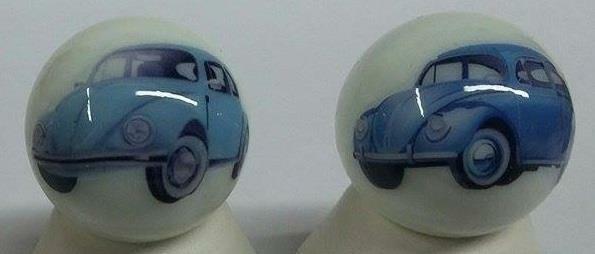 Set of 3 Volkswagen Beetle Glass Marbles