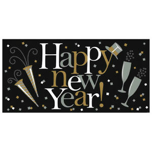 NEW YEAR'S EVE Black Gold & Silver JUMBO PLASTIC BANNER ...