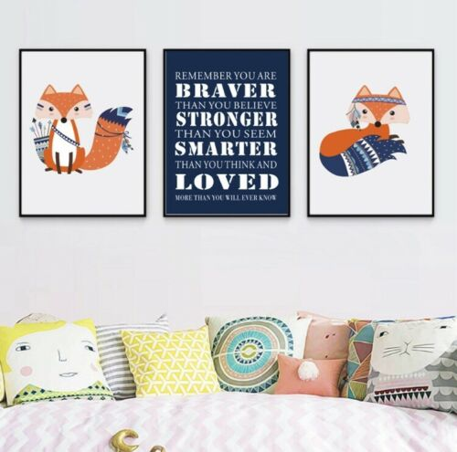 Medium Fox Stronger and Braver Canvas Artwork Contemporary Nursery Set Of 3