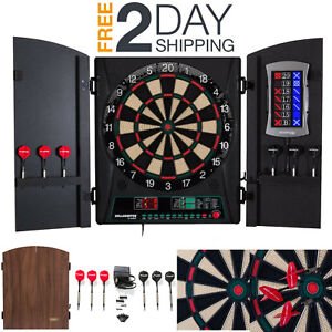 Details About Electric Dartboard Cabinet Set Wall Mount Target Cricket Darts 34 Games Set