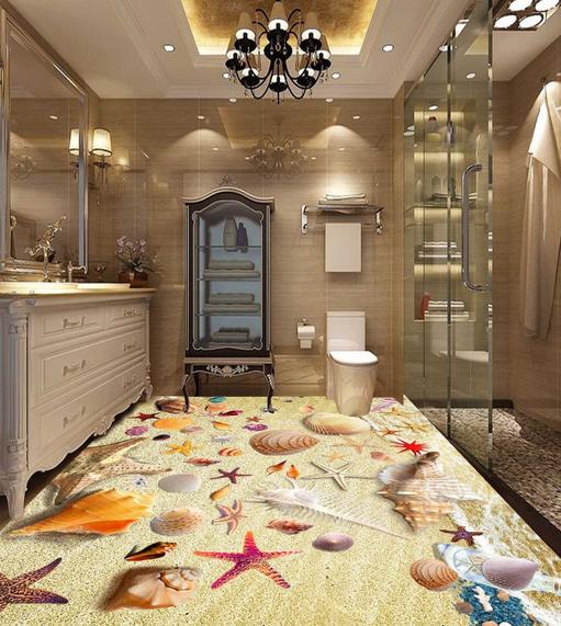 3D Starfish Shells Beach 752 Floor WallPaper Murals Wall Print Decal 5D AU Lemon