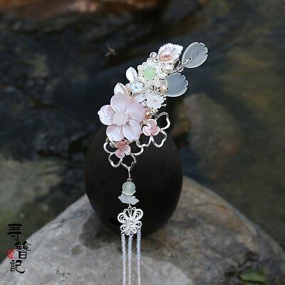 Handwork Japanese Lolita Flowers Tassels Hairpin Hair clip for Hanfu Kimono Girl