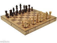SHIPPING FREE___ Wooden Book Tape Folding Chess board wood brown -Gift