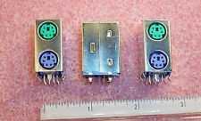QTY (10)  STACKED 6 PIN MINI DIN FEMALE RECEPTACLES PCB MOUNT 1734021-4 TYCO