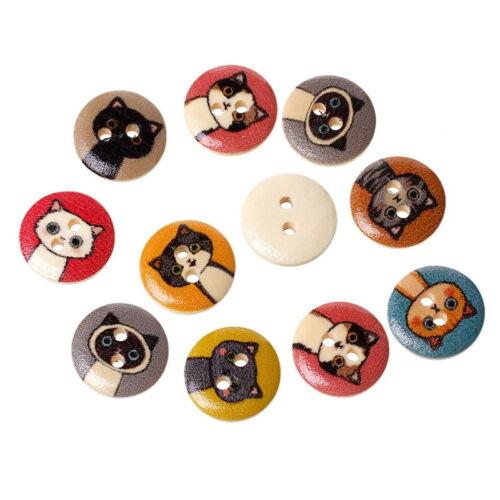 100PCs Mixed Natural Cartoon Cats 2 Hole Button Buttons 15mm