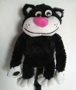Smiling Black Plush Cat Googly Eyes Soft Toy Kitty Hanging ...