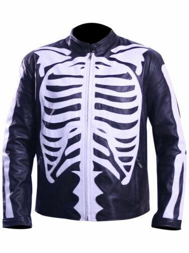 Mens Motorcycle Biker Skeleton Bones Leather Jacket Costume