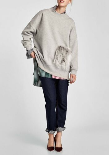 Gris Texturée Nwt Sweat Poche Aw17 Femme Avec Zara Taille S qw7x1