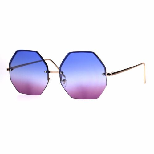 Rimless Hippie Octagonal Gradient Lens Fashion Sunglasses