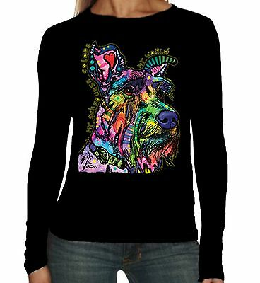 Velocitee Ladies Long Sleeve T-Shirt Psychedelic Chihuahua Dog A18494