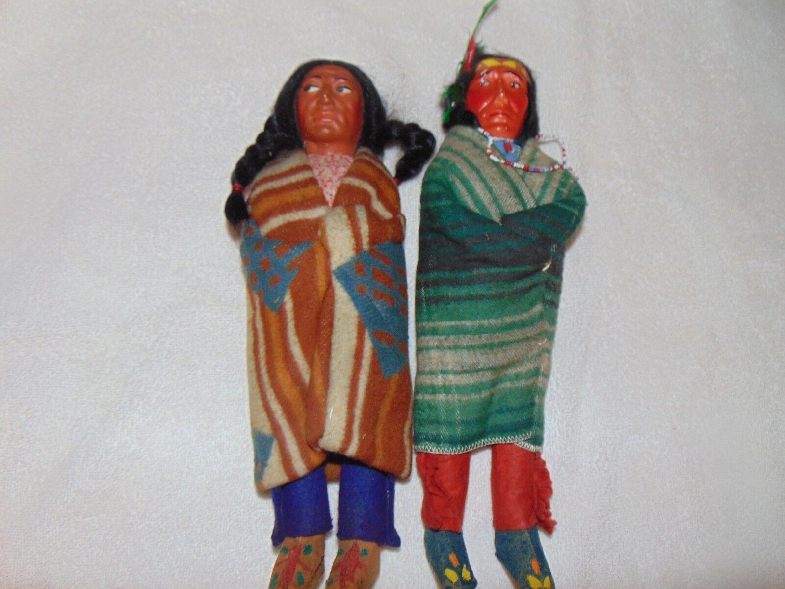 Par De Colección 12  Skookum indio Muñeca Rolling registros etiqueta de papel cuentas Bata De Manta