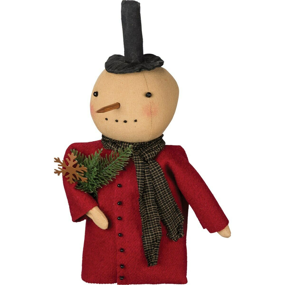 New Primitive Christmas Stuffed Red Coat Snowman Doll Tree
