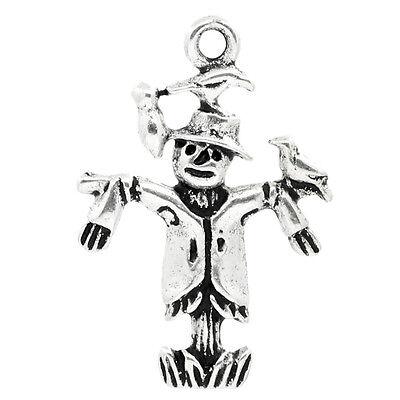30 Antik Silber Vogelscheuche Charms Anhänger für Halskette Armband 25x17mm