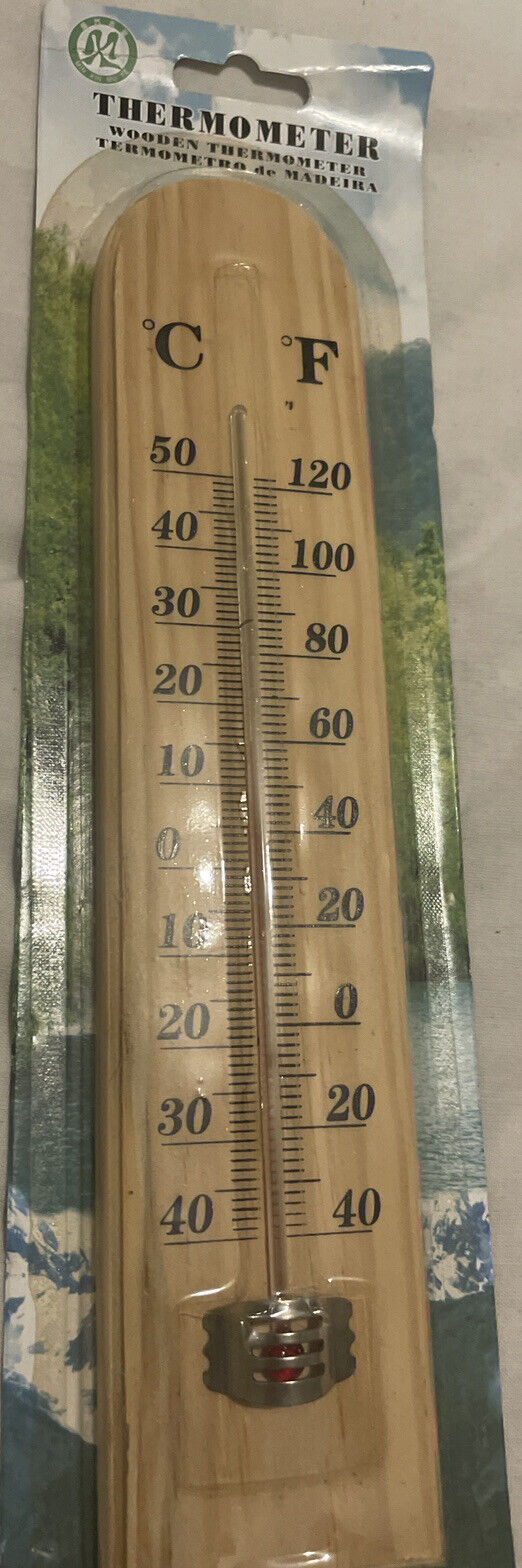 Large Wooden Hanging Outdoor Room Thermometer E.g.Greenhouse, Workshop, Shed Etc