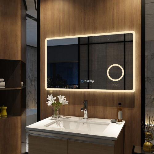 LED Badspiegel 100x60cm mit Beleuchtung Kosmetikspiegel Touch Uhr Wandspiegel