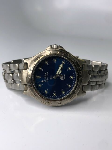 "MEN'S FOSSIL ""BLUE"" WATCH # AM-3206 Water Resistant: 100 Mtrs/330 Ft"