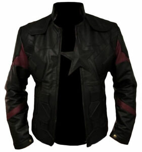 Men-039-s-Captain-America-Avengers-Infinity-War-Chris-Evans-Black-Leather-Jacket