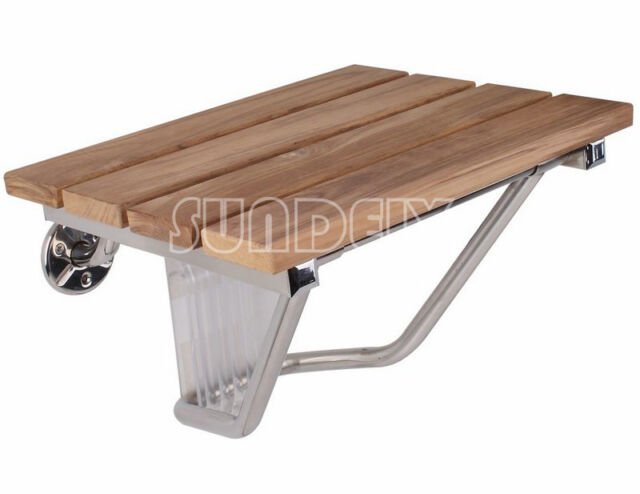 Wall Mounted Bathroom Solid Wood Teak Fold Up Shower Seat Holds Upto 160kg