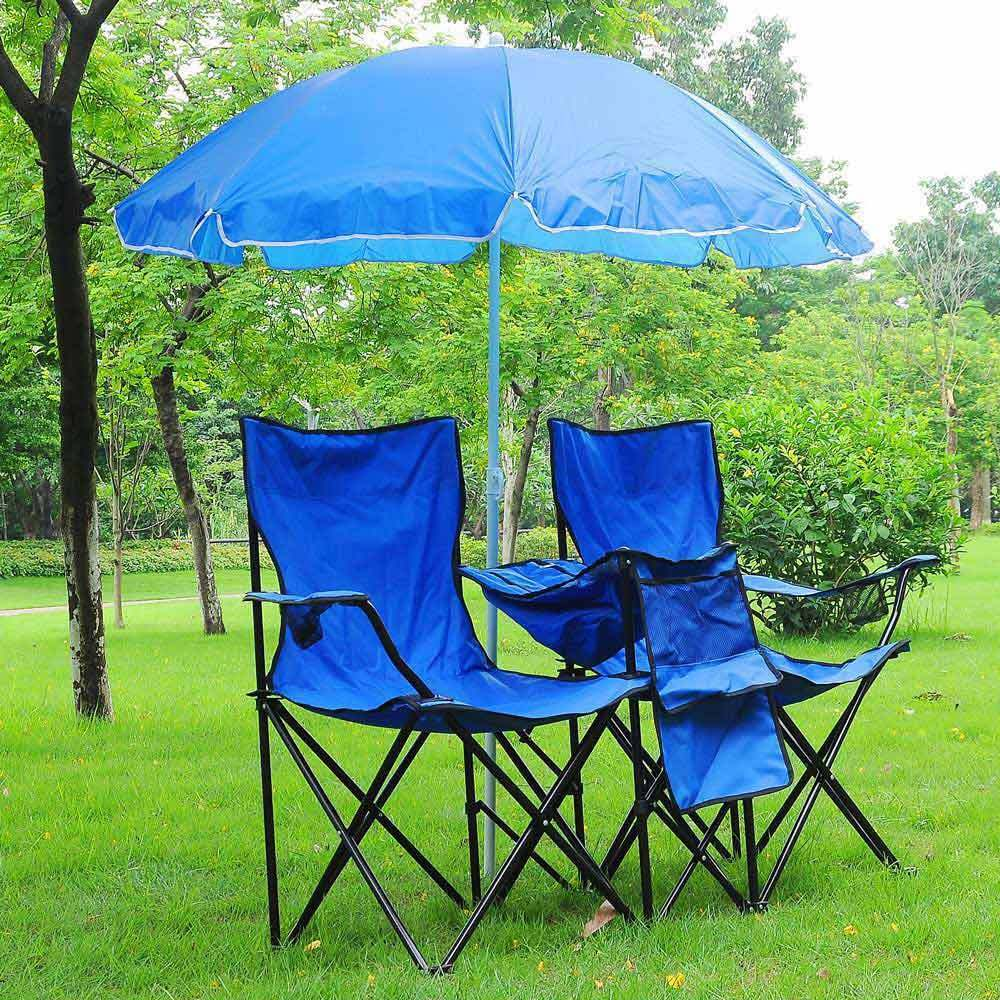 Portable Double Folding Chair Picnic W  Umbrella Table Cooler Beach Camping Chair  best sale